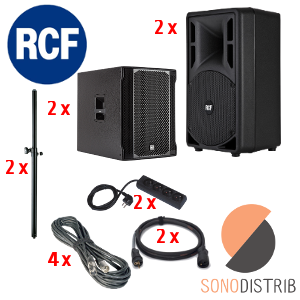 location enceinte sono pack son 3 rcf art 310-a mkiii sub 702-as ii tube de couplage enceinte cablage magasin sono lille seclin lens arras douai