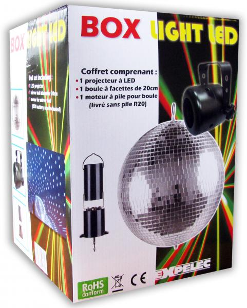 BOX LIGHT LED Coffret comprenant 1 spot led blanc + 1 BàF 20cm + moteur
