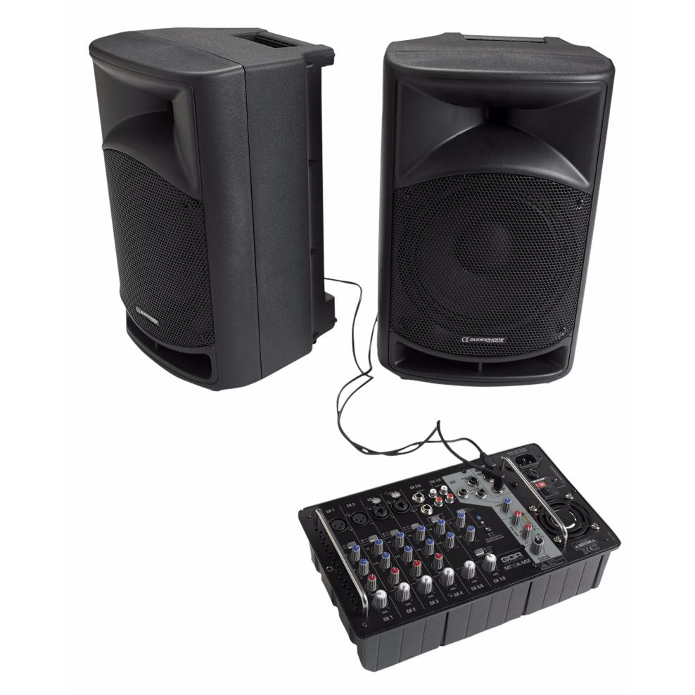 audiophony mt10sys syst me sono portable 2 enceintes 10 table de mixage bluetooth 300w rms 600w pea. Black Bedroom Furniture Sets. Home Design Ideas