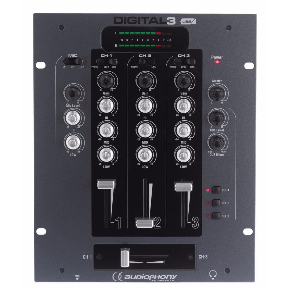 AUDIOPHONY DIGITAL 3 mixer DJ compact table de mixage 4 voies avec double carte son USB