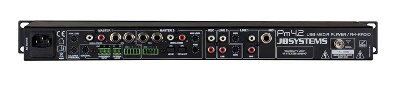 JB SYSTEMS PM4.2 MEDIAMIX Mélangeur Audio avec FM-radio/USB-player (4in/2out)