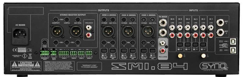 SYNQ SMI-84 Table de mixage d'insttallation, 6ch, 3zone (7line, 2ph, 2mic)