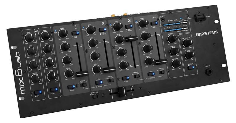JB SYSTEMS MIX6usb Table de mixage DJ, 6 canauxs, 2DJ Mic, 1USB