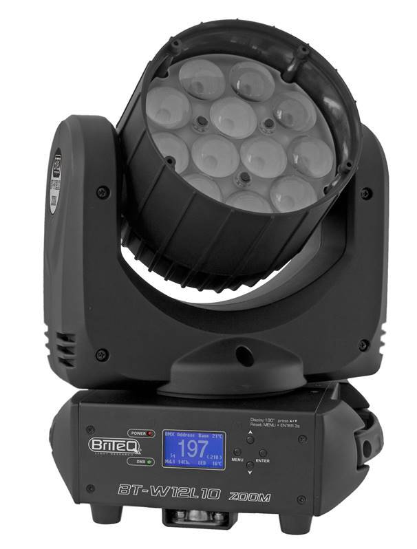 BRITEQ BT-W12L10 ZOOM Projecteur Lyre Wash Led 12x 10W RGBW zoom 10-60deg
