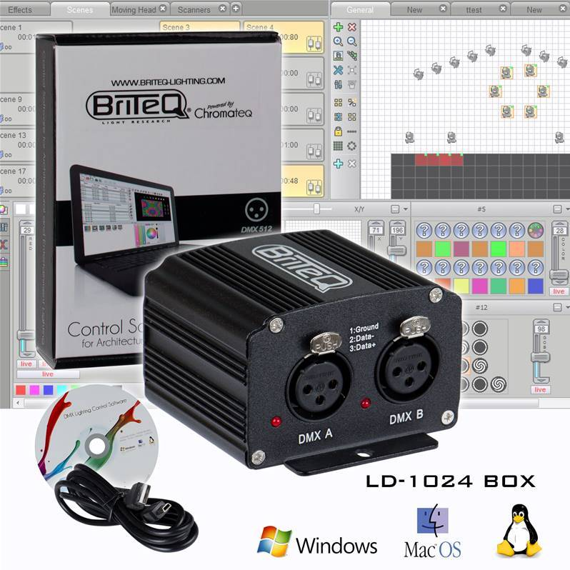 BRITEQ LD-1024BOX Interface DMX1024ch/300kB, Logiciel Chromateq