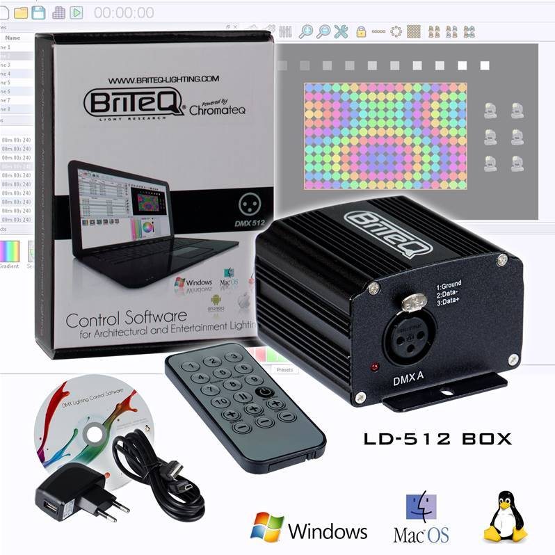 BRITEQ LD-512BOX Interface DMX512ch/300kB, Logiciel Chromateq