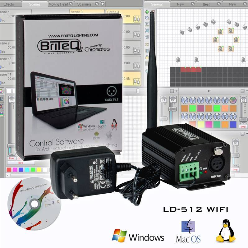 BRITEQ LD-512WIFI Interface DMX512ch/4MB, WIFI, Logiciel Chromateq
