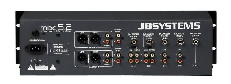 JB SYSTEMS MIX 5.2 Mélangeur Audio, 5faders, 2zones (4line, 5 mic)