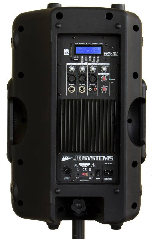 "JB SYSTEMS PPA 121 Enceinte portable filaire 12"": MP3-player, FM radio, 2mic + 1line in"